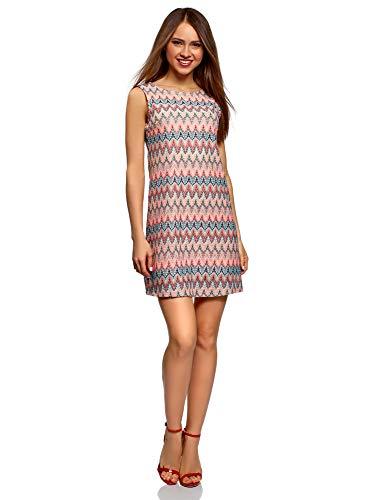 oodji Ultra Mujer Vestido de Tejido Texturizado con Decoración Étnica, Rosa, ES 46 / XXL