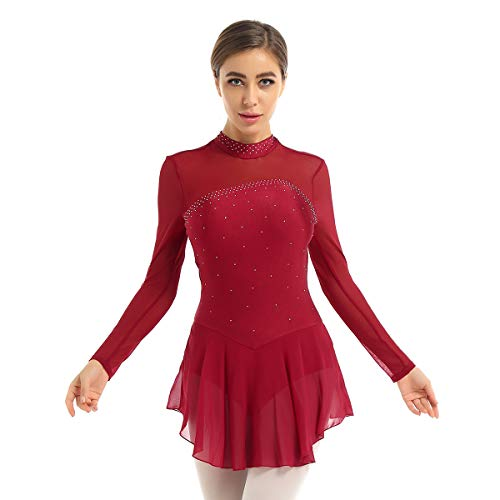 Agoky Maillot de Patinaje Artístico con Falda para Mujer Vestido de Ballet Diamantes Leotardo de Gimnasia Rítmica Manga Larga Traje Danza Clásica Vino Rojo XL