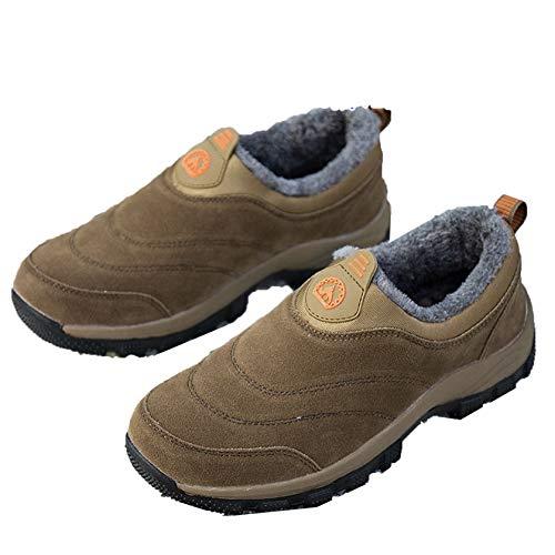 Zapatos cálidos para Hombre, Zapatos Bajos Antideslizantes, Mocasines de Felpa cálidos Informales Diarios, Zapatos Casuales de Punta Redonda al Aire Libre de Estilo Simple