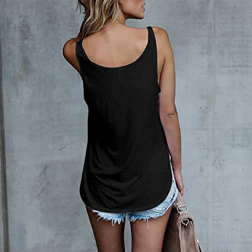 Betory Workout Tank Tops for Women Sleeveless Summer Casual Print Leaf Gym Sports Basic Vest Blouse Shirts Black