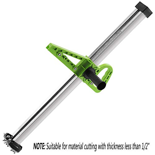 KKmoon Portable Drywall Cutting Tool Hand Push Gypsum Board Cutter with Double Blade and 4 Bearings 20-600mm Cutting Range,Green