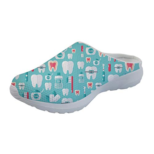 UOIMAG Zapatos de Enfermera con patrón de Diente, Regalo para Mujer, Zapatillas de Enfermera, Zapatos Suaves sin Cordones, Zapatos Casuales para Caminar 41EU
