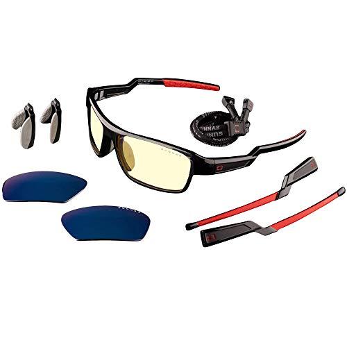 GUNNAR - Gaming Glasses - Blocks 65% Blue Light - Lightning Bolt 360, Onyx, Amber Sun Tint