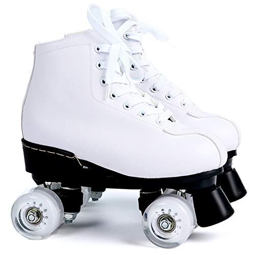 SummarLee Herren und Damen Rollschuhe Weißes Leder, LED Leuchten, Die im Freien Zweireihig Vier Rollschuhe Blinken,White Wheel,39