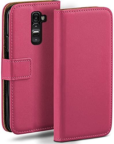 moex Klapphülle für LG G2 Hülle klappbar, Handyhülle mit Kartenfach, 360 Grad Schutzhülle zum klappen, Flip Hülle Book Cover, Vegan Leder Handytasche, Pink