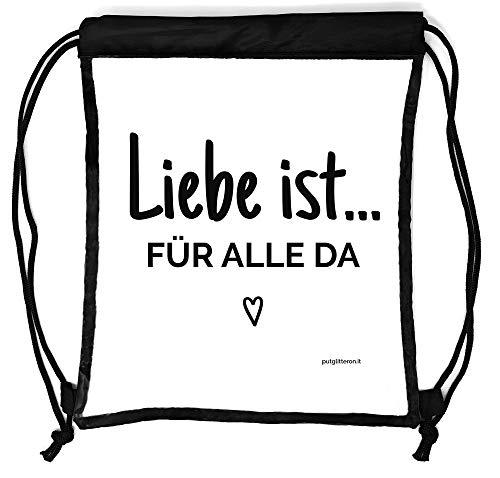 clapur Rucksack durchsichtig, transparenter Turn-Beutel für Festival, Konzert, Party Clear Secure Safe Bag Aufdruck: Liebe ist für alle da