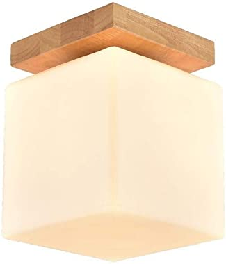 Moliay Verre carré Moderne Simplicité Cube Semi encastrà de Montage au Plafond Solide Plafond en Bois Lampe Suspension Abat-J
