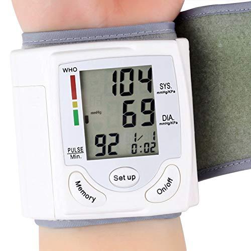DRhomehouse Pantalla LCD Monitor de presión Arterial Medidor de Pulso de muñeca Pulsómetro Digital automático Esfigmomanómetro Herramienta de diagnóstico Familiar
