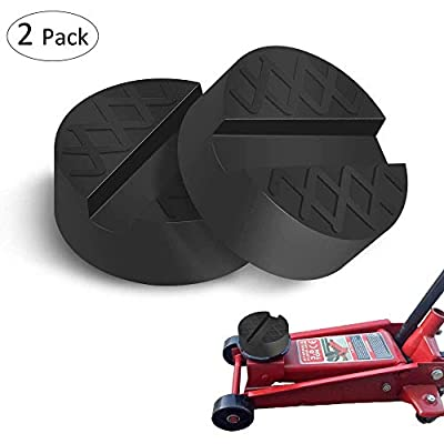 HOTSYSTEM Universal Jack Pad,Rubber Slotted Anti-Slip Frame Rail Pinch Weld Protector Support Block for Car Jack (2-Pack,1 Year Warranty)