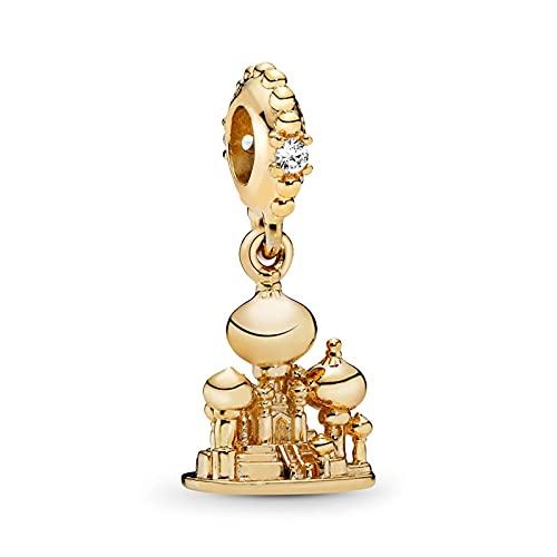 Pandora Moments - Abalorios de plata de ley 925 originales Aladdin Agrabah Castillo cuelgan joyas para pulseras y collares