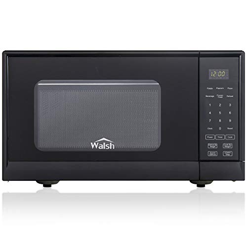 Walsh WSCMSR09BK-09 Countertop Microwave Oven,6 Cooking Programs LED Lighting Push Button, 0.9 Cu. Ft/900W, Black