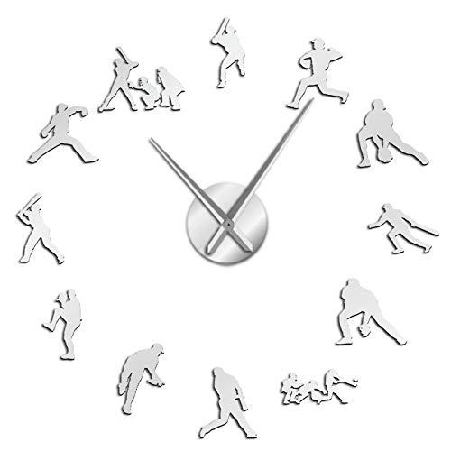 YQMJLF Reloj Pared DIY 3D Grande Reloj Pared DIY Gigante béisbol contemporáneo Guante béisbol Deportivo y murciélago Reloj con Efecto Espejo silencioso decoración habitación Deportistas Plata