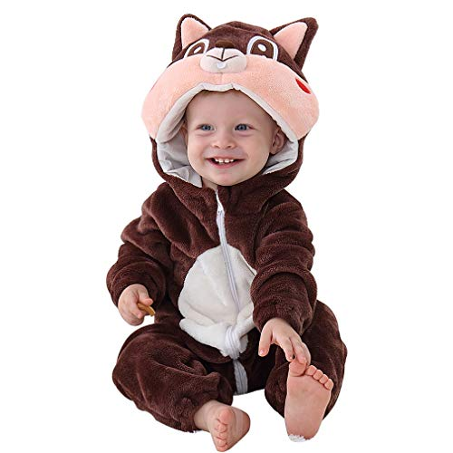 IDGIRL Costume, Animal Romper for Infant Winter Flannel Outfits 6-12 Months Brown