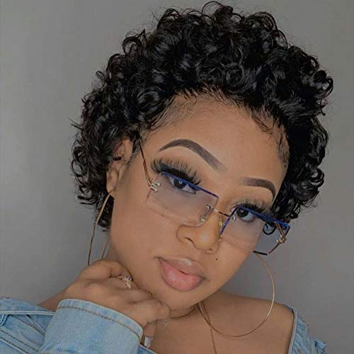 Short Curly Lace Front Wigs Human Hair Wigs for Black Women UDU Pixie Cut Wigs Human Hair Short Curly Human Hair Wigs Pre Plucked with Baby Hair 150% Density