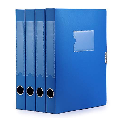 Cajas de almacenamiento A4 de plástico con tapa, organizador de archivos, tamaño carta, color azul (paquete de 4)