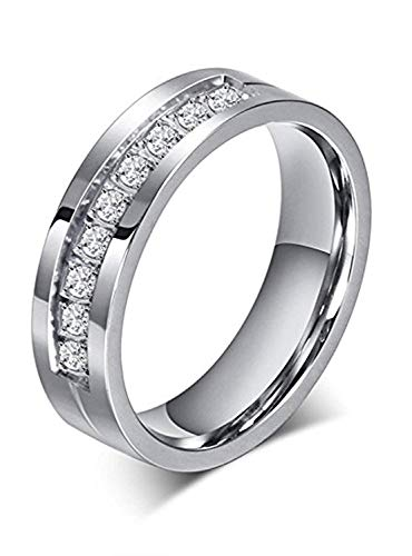 Chryssa 6mm Titanium Steel Carbide Ring with Brilliant CZ Diamonds Mens Wedding Band 5 to 12 -$3.99(60% Off)