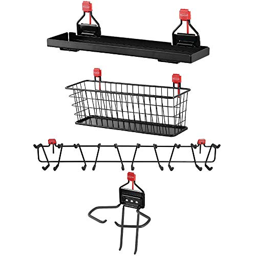 "Rubbermaid Shed Shelf, Wire Basket, 34"" Tool & Sports Rack, & Power Tool Holder"