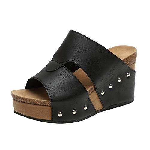 BHYDRY Mujeres Verano Remache Sandalias de Playa Boho Zapatos de cuñas Casuales Zapatillas de Fondo Grueso