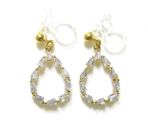 Clear Crystal Tapered Shape Cubic Zirconia Rhinestone Dangle Drop Hoop Long Teardrop Gold Wedding Bridal Invisible Clip on Earrings