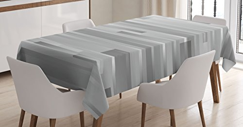 Ambesonne Modern Tablecloth, Futuristic Striped Web Forms Artistic Contemporary Graphic Fusion Artwork Print, Dining Room Kitchen Rectangular Table Cover, 60' X 84', Grey Grey
