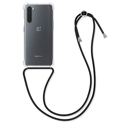 kwmobile Necklace Hülle kompatibel mit OnePlus Nord - Hülle Silikon mit Handykette - Band Handyhülle Transparent Schwarz