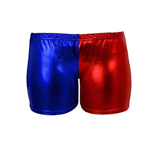 Mesdames Métallique Wet Look Hot Pants et Veste Fleuret Shorts Brillant Halloween Party Rouge et Bleu Disco