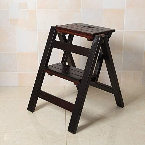 GDFEH Escalera plegable de madera con 2 escalones para cocina, oficina, cocina, uso en el hogar