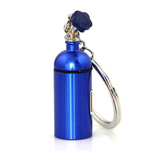 Maycom Creative Turbo Keychain Blue Mini Nitrous Oxide Bottle Keyring Key Chain Ring Keyfob Stash Pill Box Storage