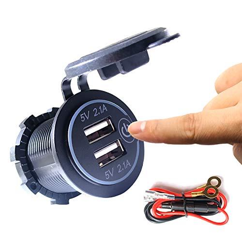 Thlevel Doble zócalo de cargador USB, doble toma de corriente del cargador de coche USB 5V / 4.2A con interruptor