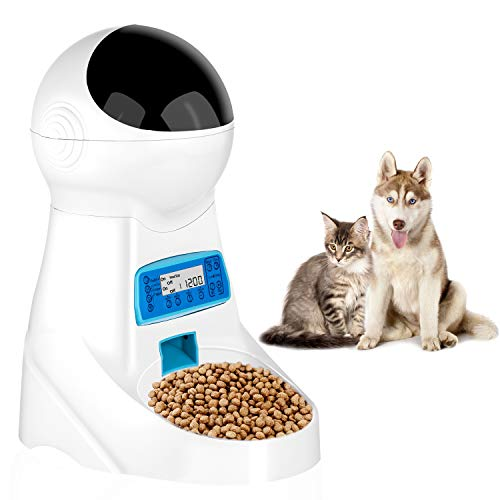 pecticho Pet Feeder, Automatic Cat Feeder Pet Dog Food Dispenser Feeder for Small Medium Large Cat Dog-4 Meal Timer Programmable Voice Recorder...