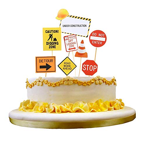 NN-BH happy birthday decoration, transportation theme cake topper (Road sign)