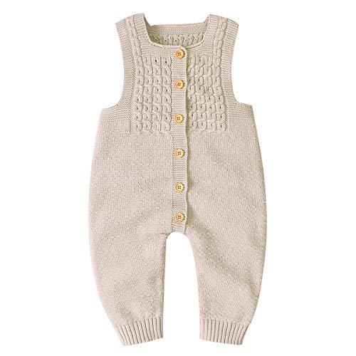 Haokaini, Babystrampler / Overall, unisex, gestrickt, ärmellos, für Neugeborene / Babys / Kleinkinder Gr. 68, Flaches Kamel