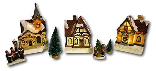 Weihnachtsstadt mit Schneedekoration Weihnachtsdorf LED Häuser beleuchtet 3D Weihnachtsszene Dekoration Weihnachten Winterlandschaft