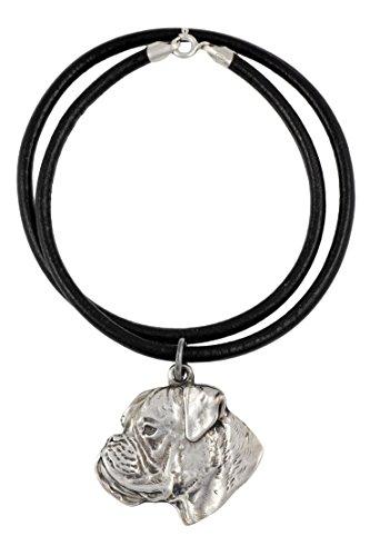 Deutscher Boxer, Silber beschichtet Halskette, Limitierte Edition, Art Dog