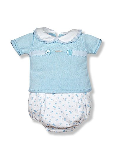 FOQUE Conjunto bebé Punto y cubrepañal 9 Meses Azul