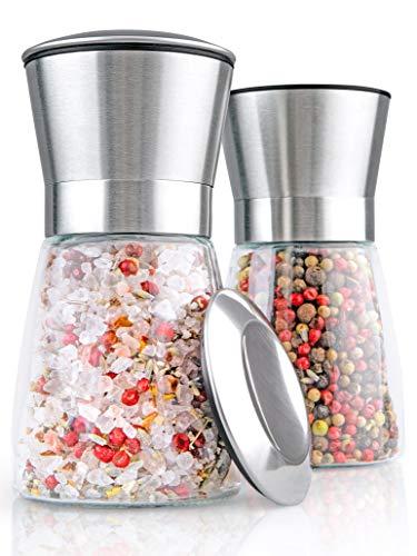 Hannah's Homebrand® Salz und Pfeffermühle mit Keramik-Mahlwerk (härter als Stahl) Salzmühle oder auch Gewürzmühle - Ohne Gewürzinhalt - deutsche Marke