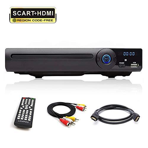 LONPOO Metallschale DVD Player mit SCART/ HDMI / CINCH / USB-Eingang / MIC ports, Free Regionen 1-6, mit Fernbedienung & HDMI & RCA Kables (LP-078)