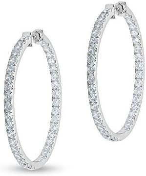 1 Carat Diamond Inside Out Round Hoop Earrings for Women in 14k White Gold H I SI2 I1 cttw 25mm product image