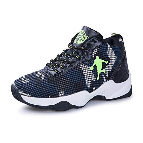 DAYATA Camouflage Print Basketball Schuhe für Kinder Jungen Outdoor Sneakers Kinder Sportschuhe, Blau - Camo Blue - Größe: 33 EU