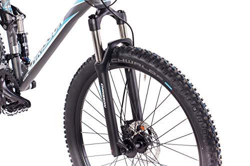 CHRISSON 27,5 Zoll Mountainbike Fully – Hitter FSF grau blau – Vollfederung Mountain Bike mit 30 Gang Shimano Deore Kettenschaltung – MTB Fahrrad für Herren und Damen mit Rock Shox Federgabel - 5