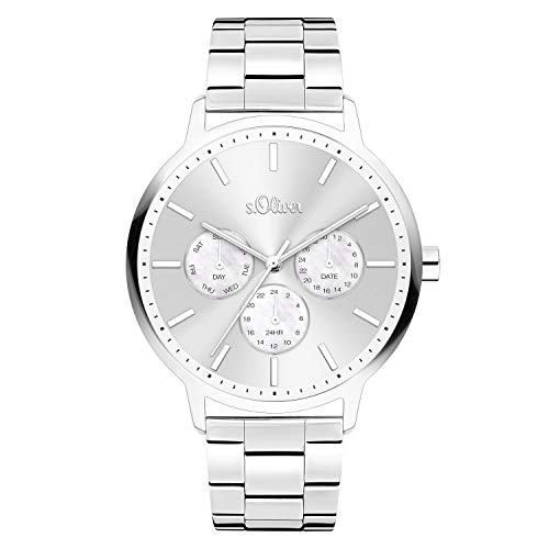 s.Oliver Damen Analog quarz Armbanduhr mit Edelstahl SO-4101-MM