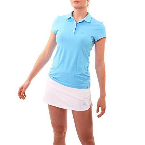 Sportkind Mädchen & Damen Tennis, Golf, Sport Poloshirt Kurzarm, UV-Schutz UPF 50+, atmungsaktiv, hellblau, Gr. 152