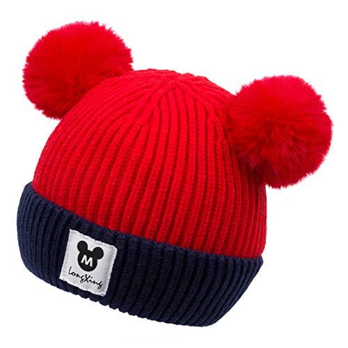 HIOD Sombrero de Invierno Cálido para Bebés y Niños Gorros Tejidos con Dos Bolas Mullidas, Linda Gorra para Niños Pequeños, Suave y Cómoda,Red