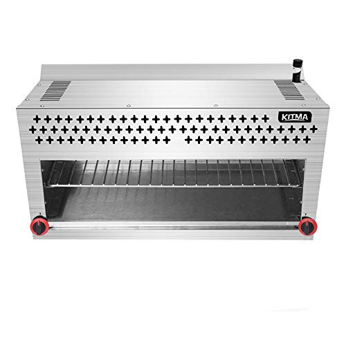 Natural Gas Cheese Melter - KITMA 36 Inches Commercial Radiant Salamander Broiler with Ceramic Infrared Burner 2 Burners 43000BTU for Chips, Toast Sandwiches, Pizzas