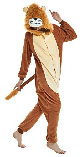 FunnyCos Pijama de Animal para Adultos, Unisex, Disfraz de Halloween León L