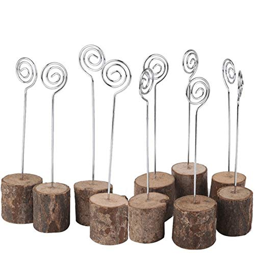 Wooden Base Place Card Holders, Iron Wire Picture Picks Clip Holder Stand, 5.5 Inches Rustic Memo Photo Clip Card Holders Paper Note Clip for Christmas Party Wedding Table Home Decorations