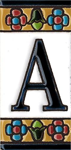 NUMEROS PARA CASAS (AZUL), pintado a mano de 3,5 x 7,5 cm, especial para exterior, Grabado y Ceramica Española.(Letra A)