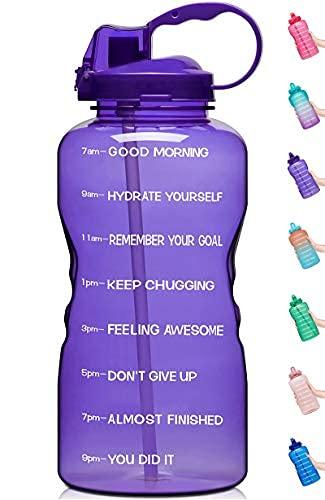 Botella de agua de 64 onzas con marcador de tiempo motivacional y pajita, a prueba de fugas, reutilizable, sin BPA, para entusiastas de deportes y fitness