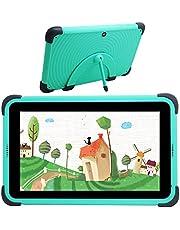 Barn surfplatta 7 tums WiFi Android 10 surfplatta PC IPS HD-skärm, 2 GB RAM 32 GB ROM, barnsäkringstablett för barn, barnlärobricka barnsäkert fodral med stativ (grön)