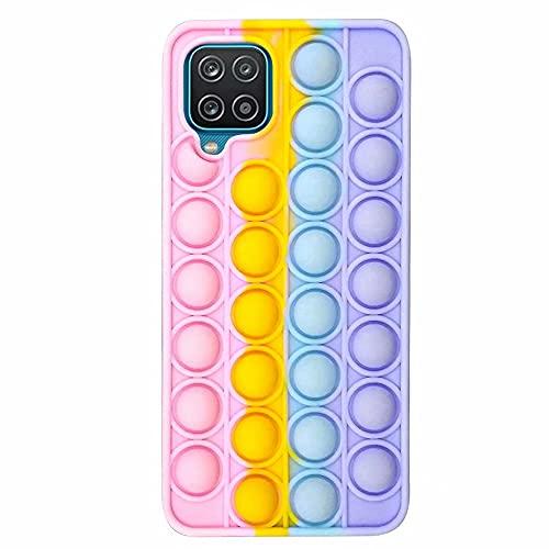 Dfjhure Schutzhülle für Samsung Galaxy A12, mit Blasen-Druck, Regenbogen-Pop-Hülle, mehrfarbig, weiche Silikonhülle, Gel-Silikonhülle, stoßfeste Schutzhülle für Samsung Galaxy A12